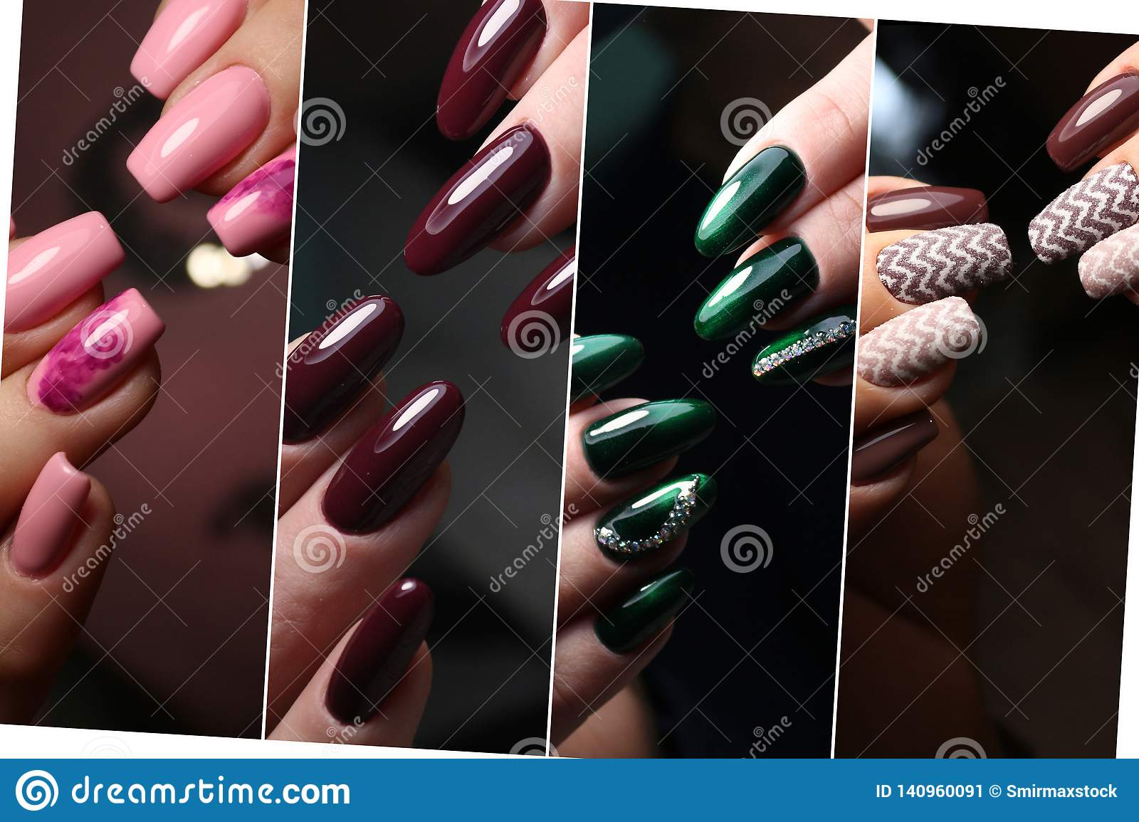 Colorful rainbow collection of nail designs