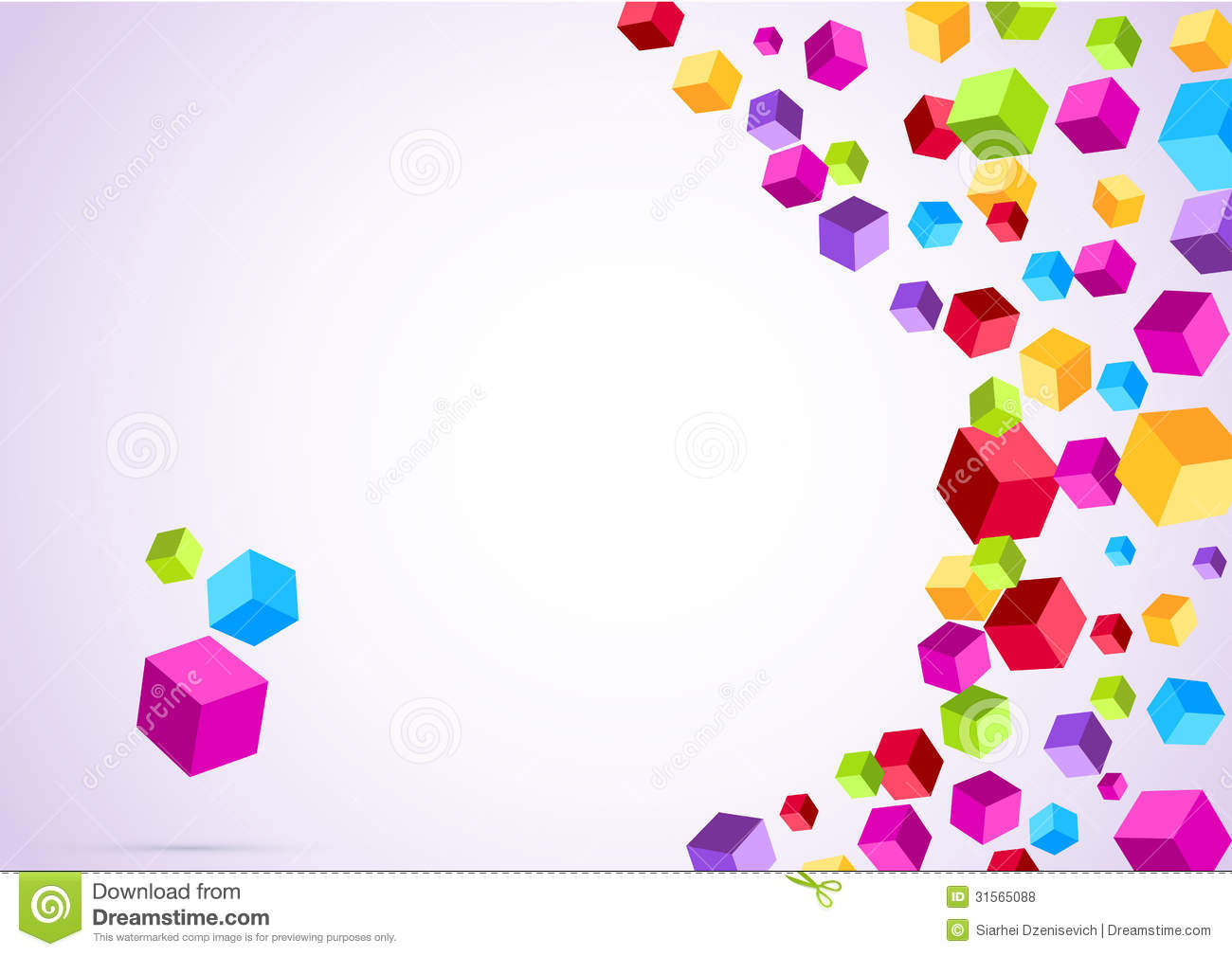 colorful cubes flying geometrical background stock vector