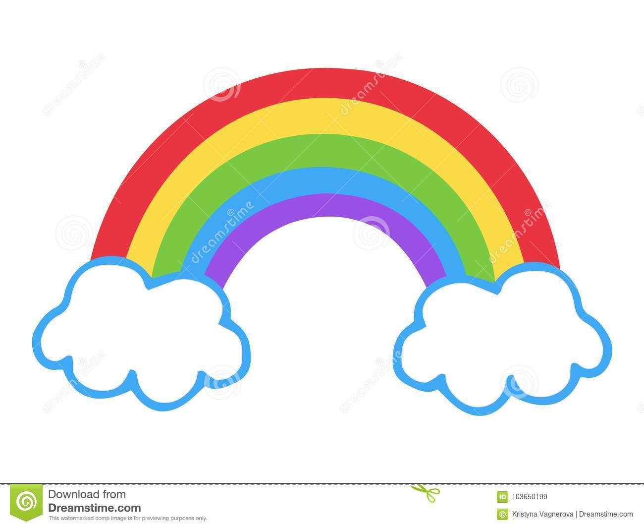 Arco De Imagen Png Png Dibujo: Colorful Rainbow With Clouds Vector Illustration Stock