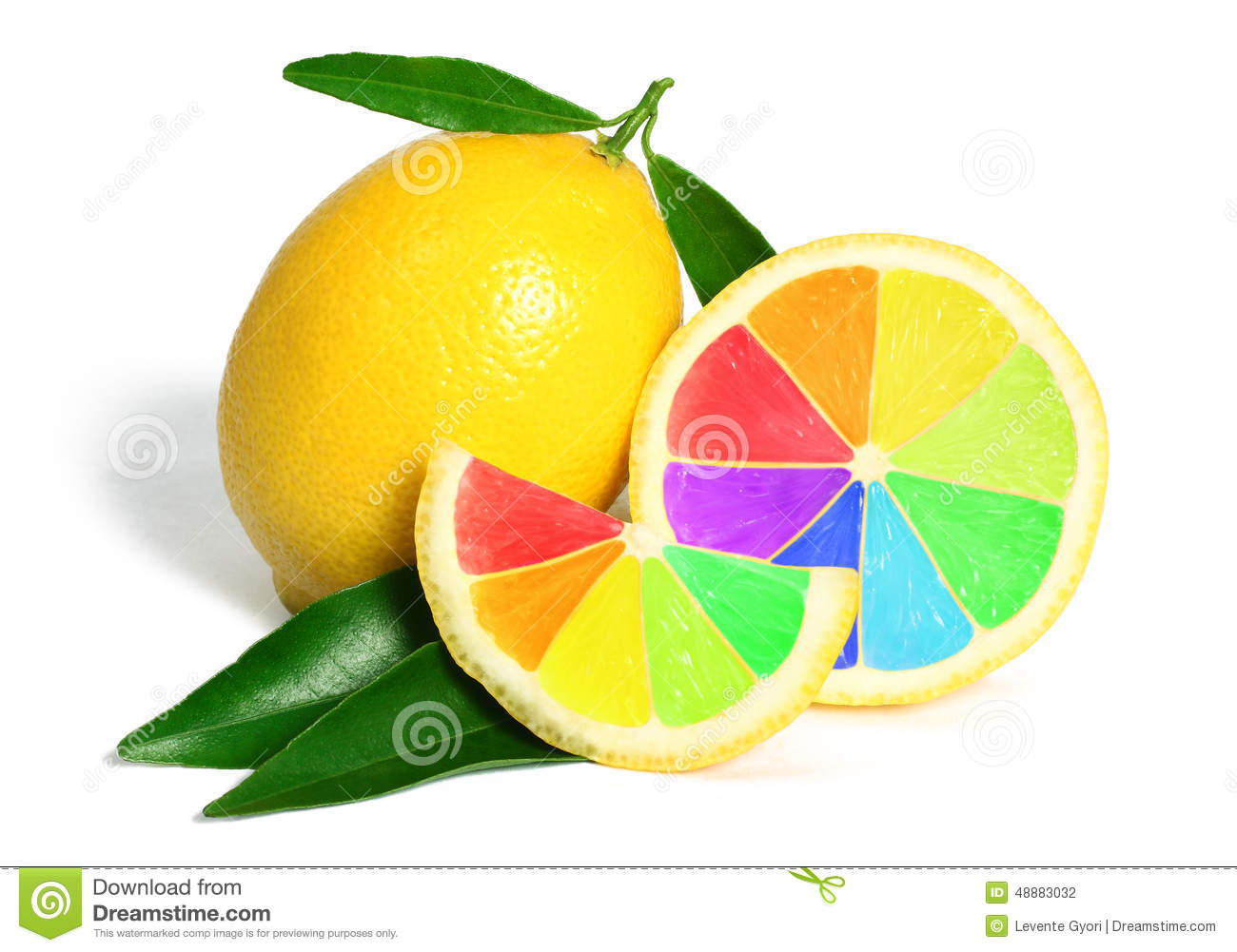 Colorful rainbow lemons fruit