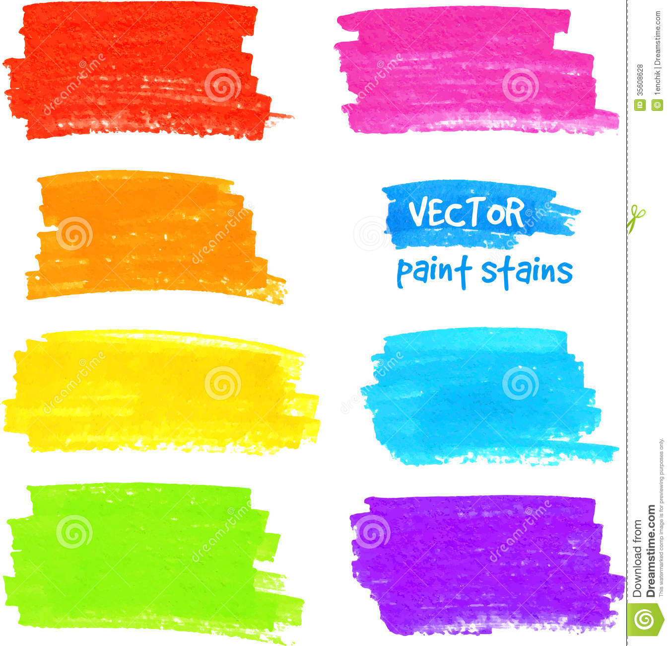 Colorful Rainbow Marker Vector Paint Stains Stock Vector