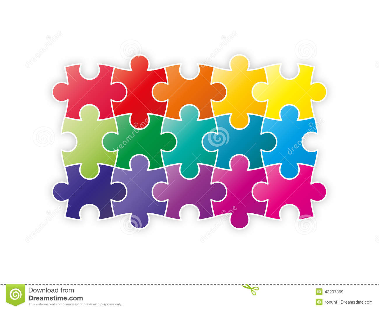 colorful rainbow puzzle pieces forming a square stock vector