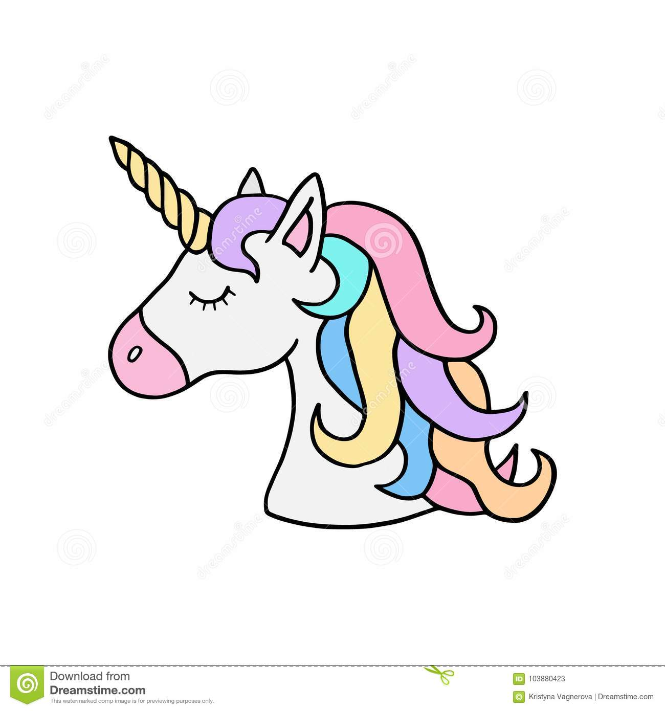 Colorful Rainbow Unicorns Head Illustration Stock Vector