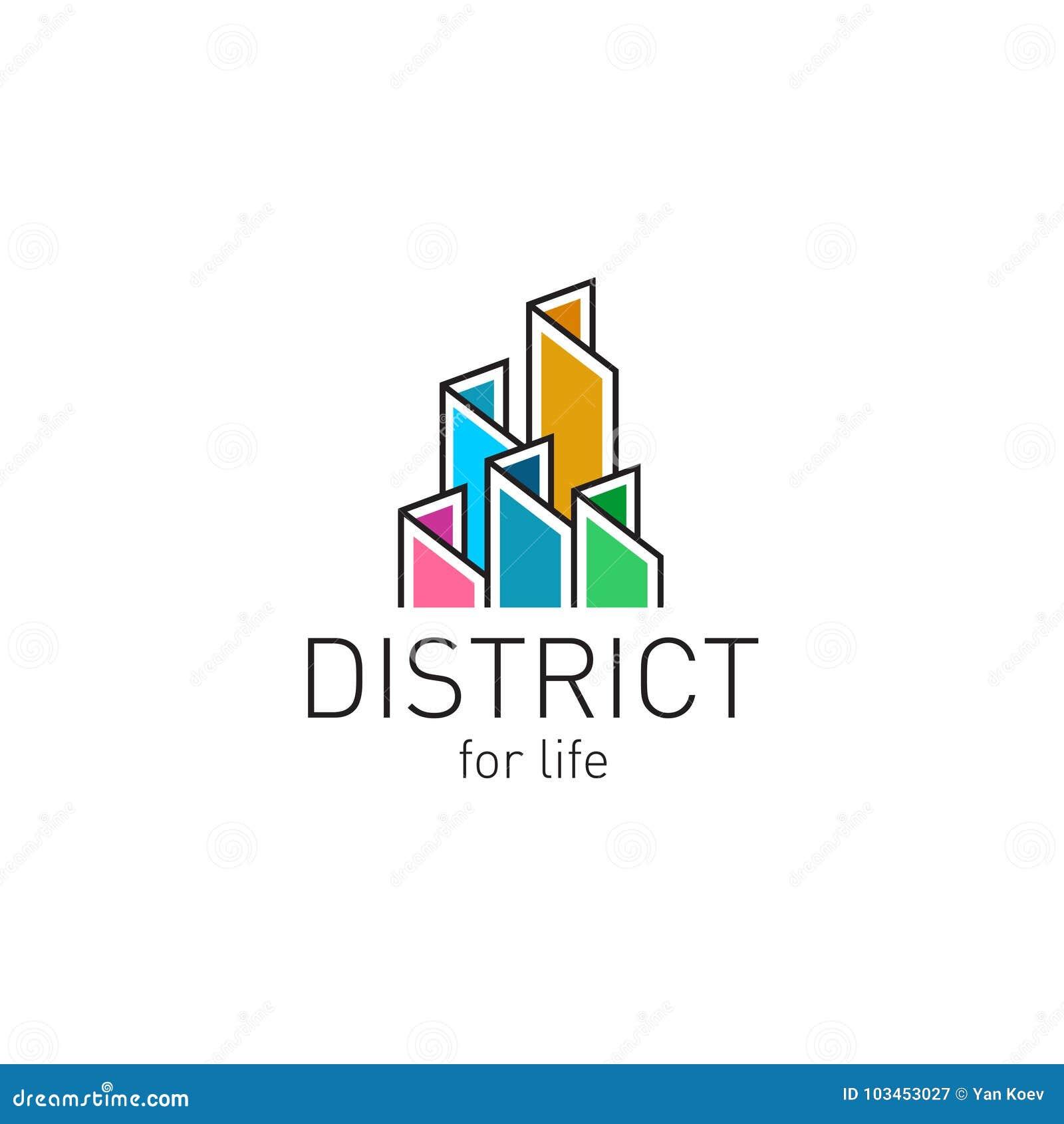 Colorful real estate buildings contour logo template