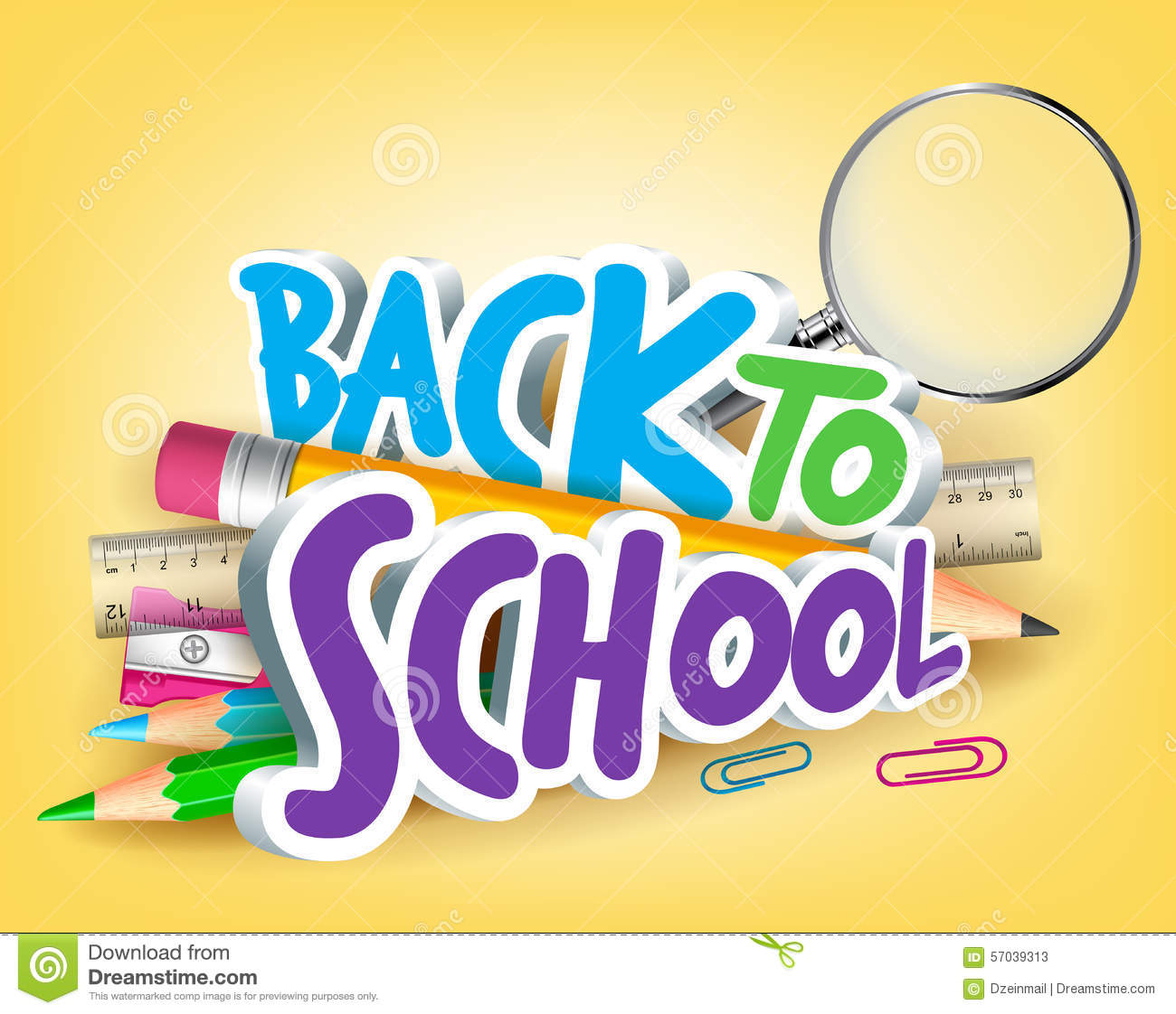 Poster design 3d - Colorful Realistic 3d Back To School Title Texts