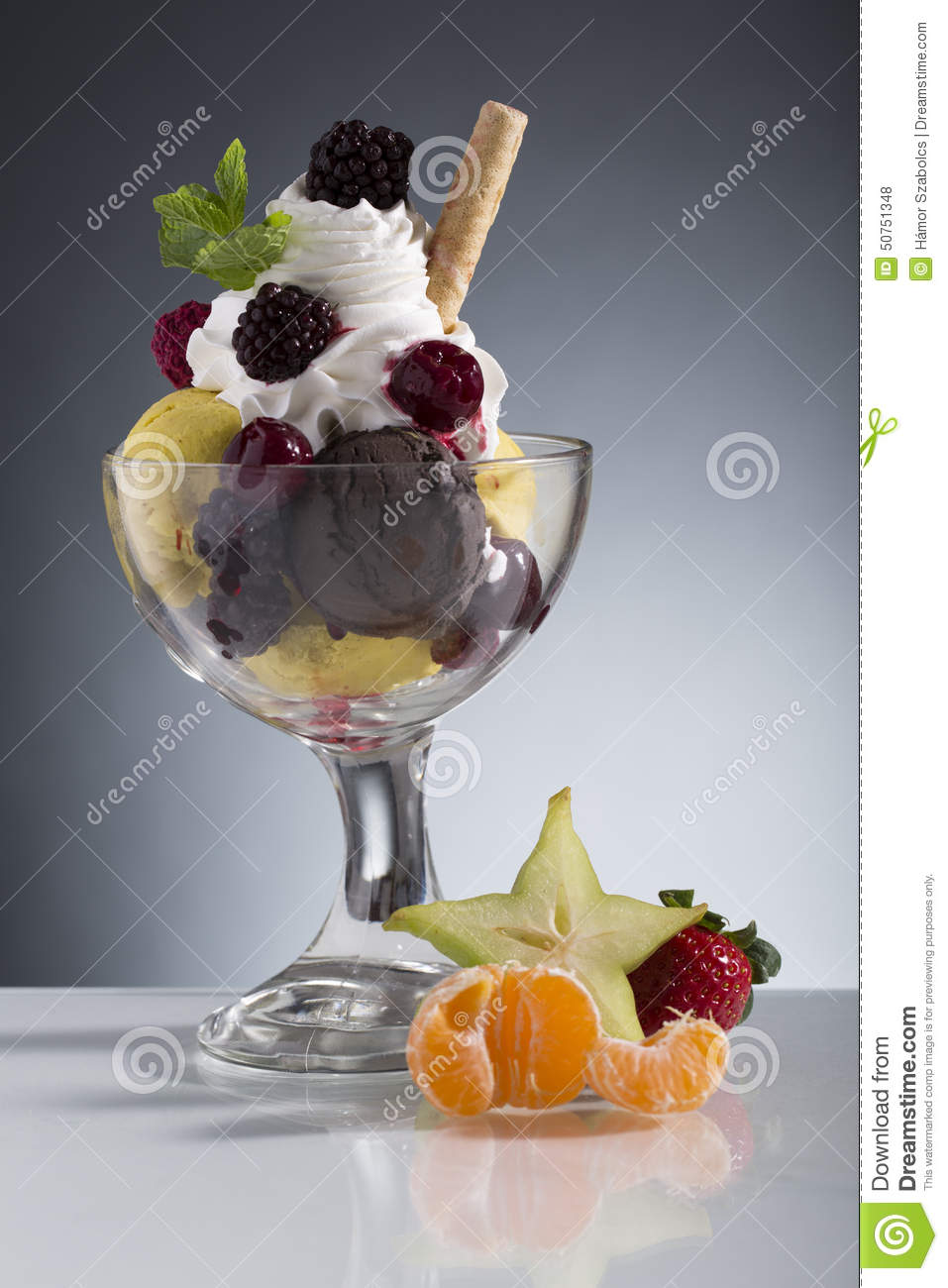 Colorful red berrie sundae decorated for menu card