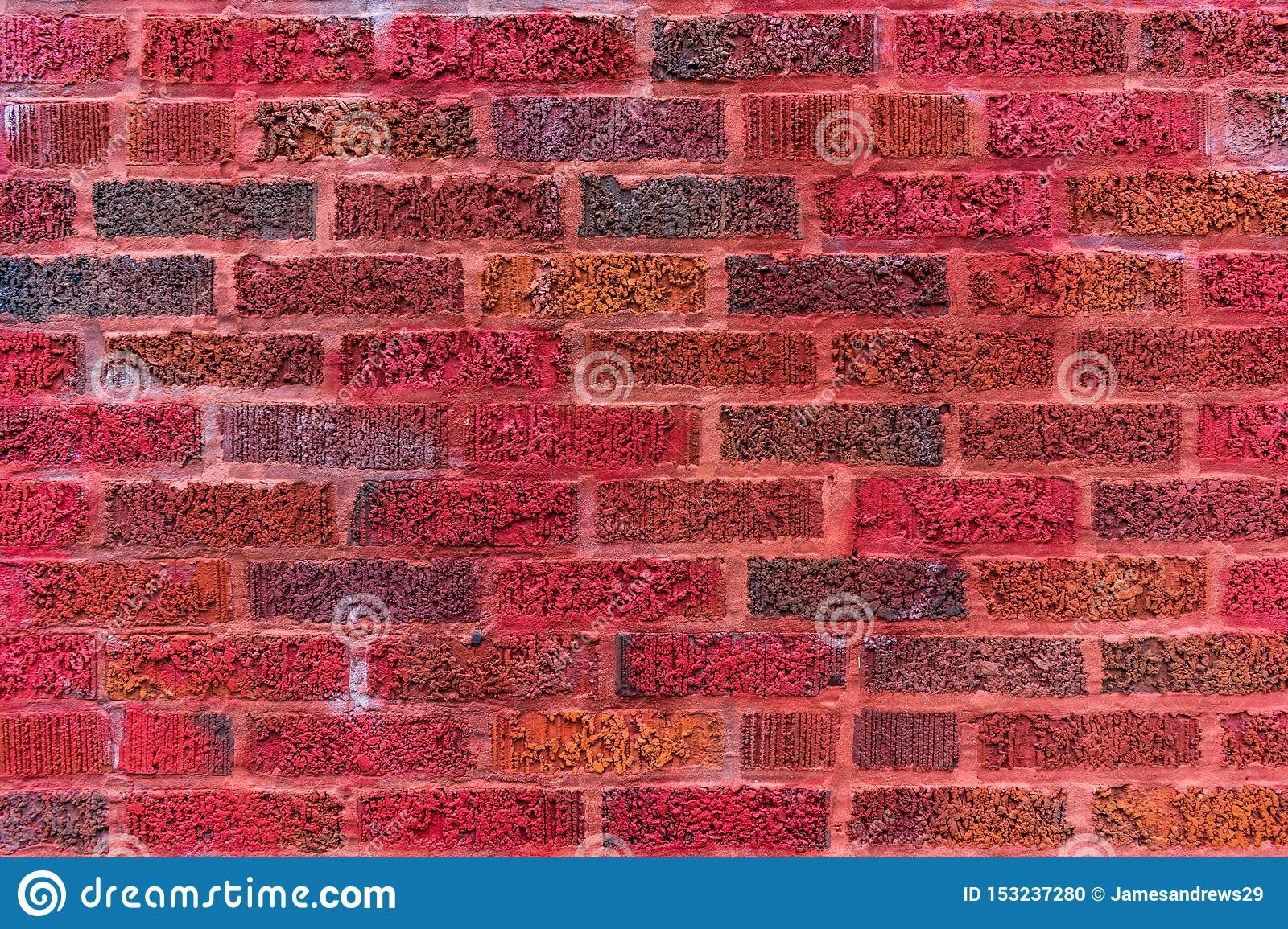Colorful Red Brick Wall Backround