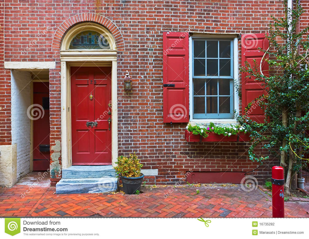 Colorful Red Door And Brick Wall Stock Photo Image 16735282