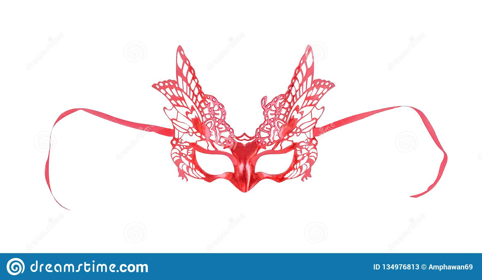 Colorful red mask with butterfly patterns isolate on white background with clipping path