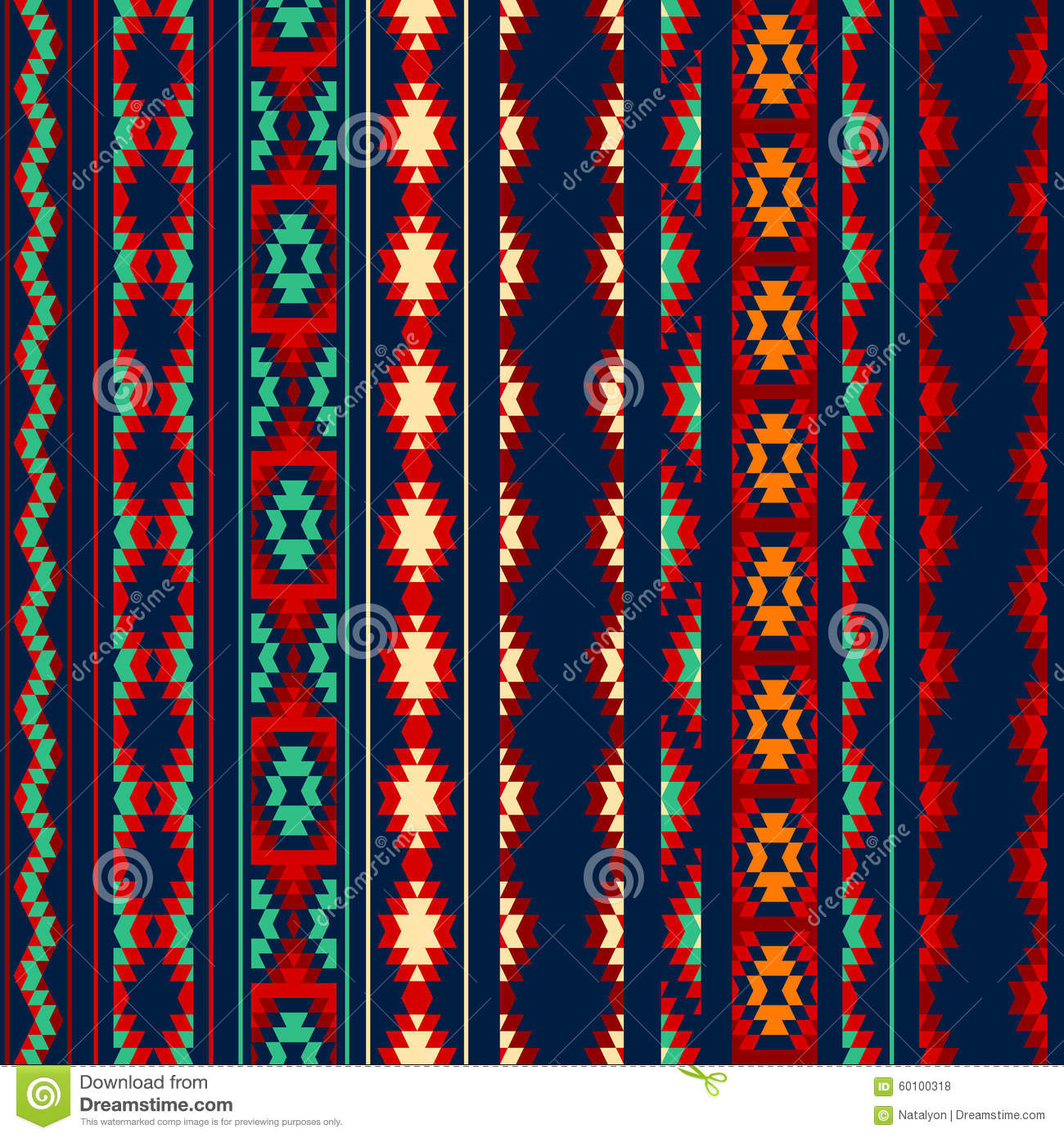 Download Colorful Red Orange Blue Aztec Striped Ornaments Geometric Ethnic Seamless Pattern Stock Vector - Illustration of geometric, aztec: 60100318