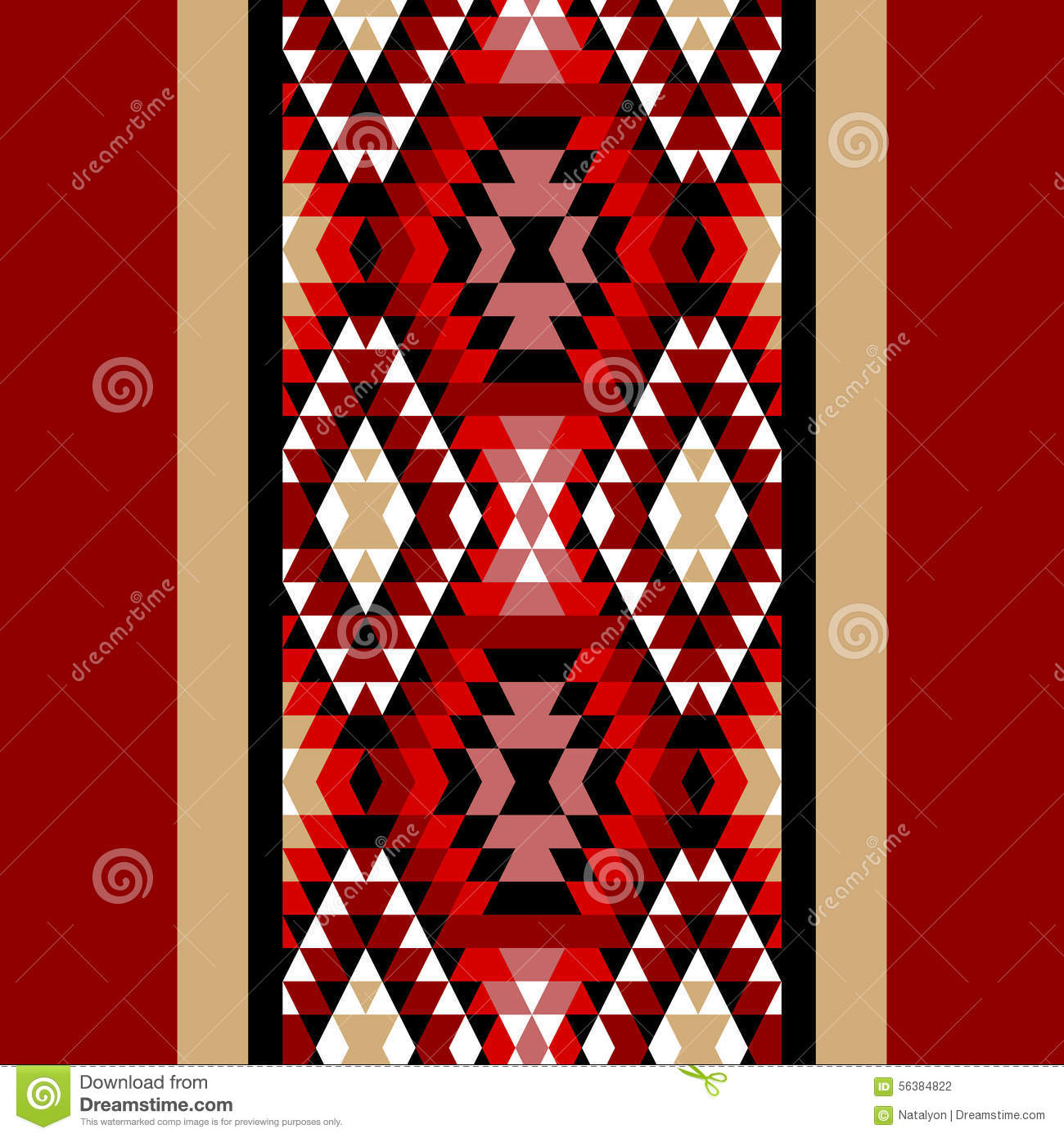 Colorful Red White And Black Aztec Ornaments Geometric