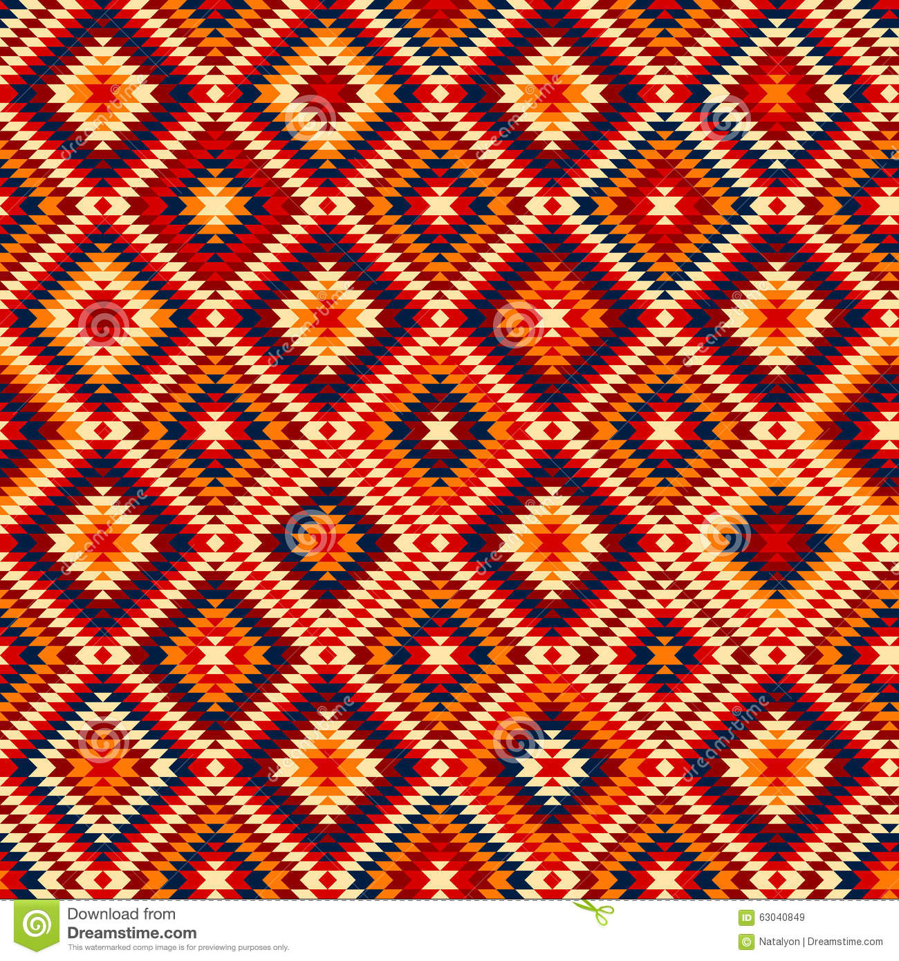 Colorful Red Yellow Blue Aztec Ornaments Geometric Ethnic