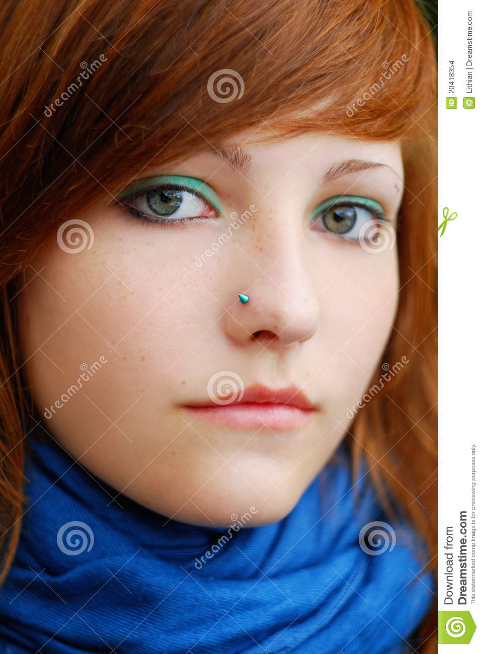 Colorful Teen Stock Image Image Of Lipstick Portrait: Colorful Redhead Teen With Attitude. Stock Images