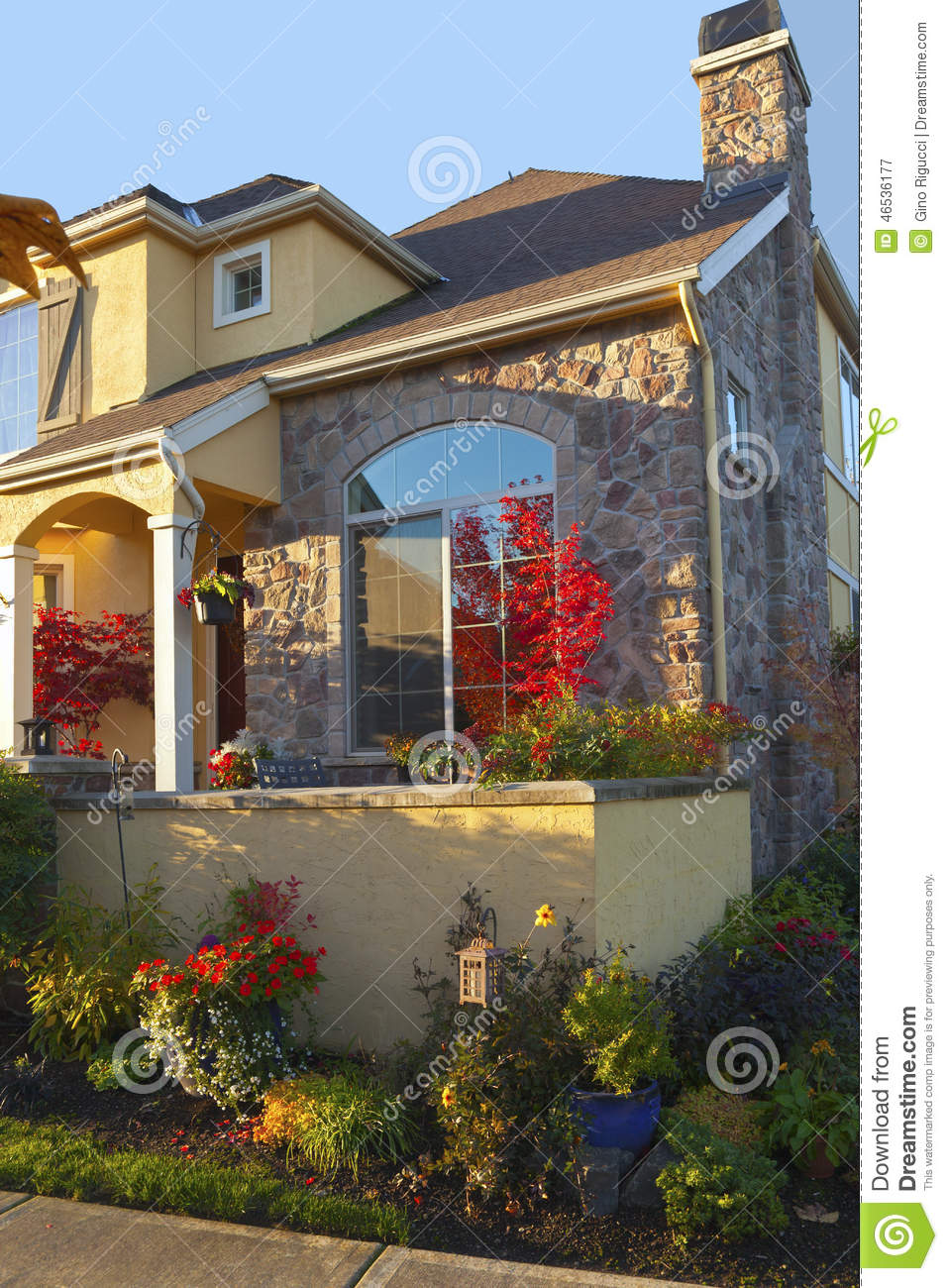 Colorful residential house with plants royalty free stock for Colorful tree house