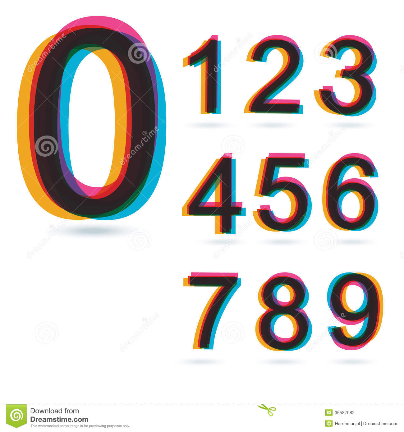 Colorful Retro Numbers Set. Stock Photography - Image ...