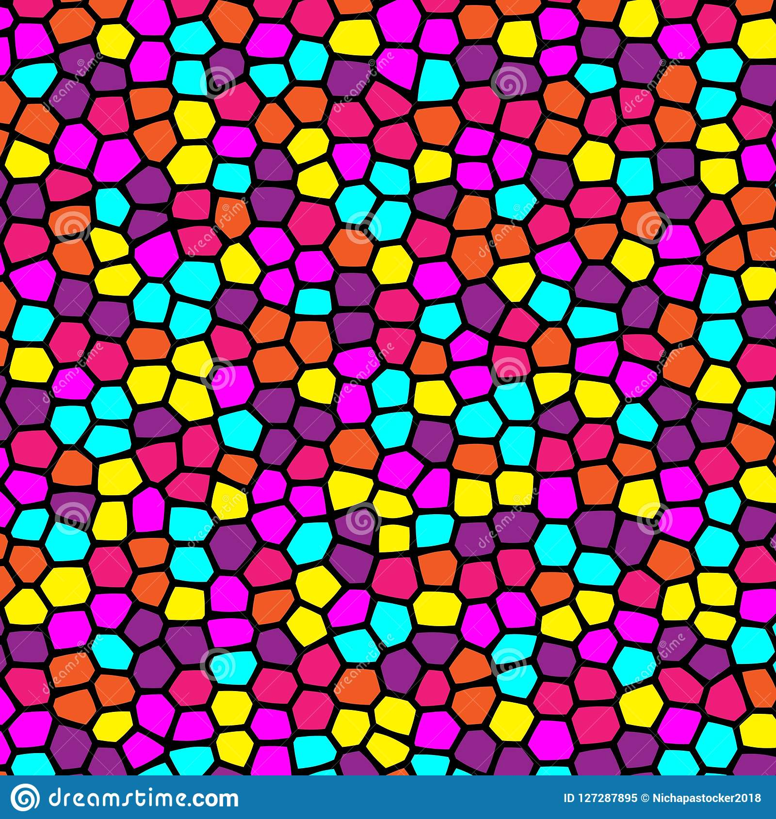 Colorful Retro Pattern Of Stained Glass Geometric Shapes