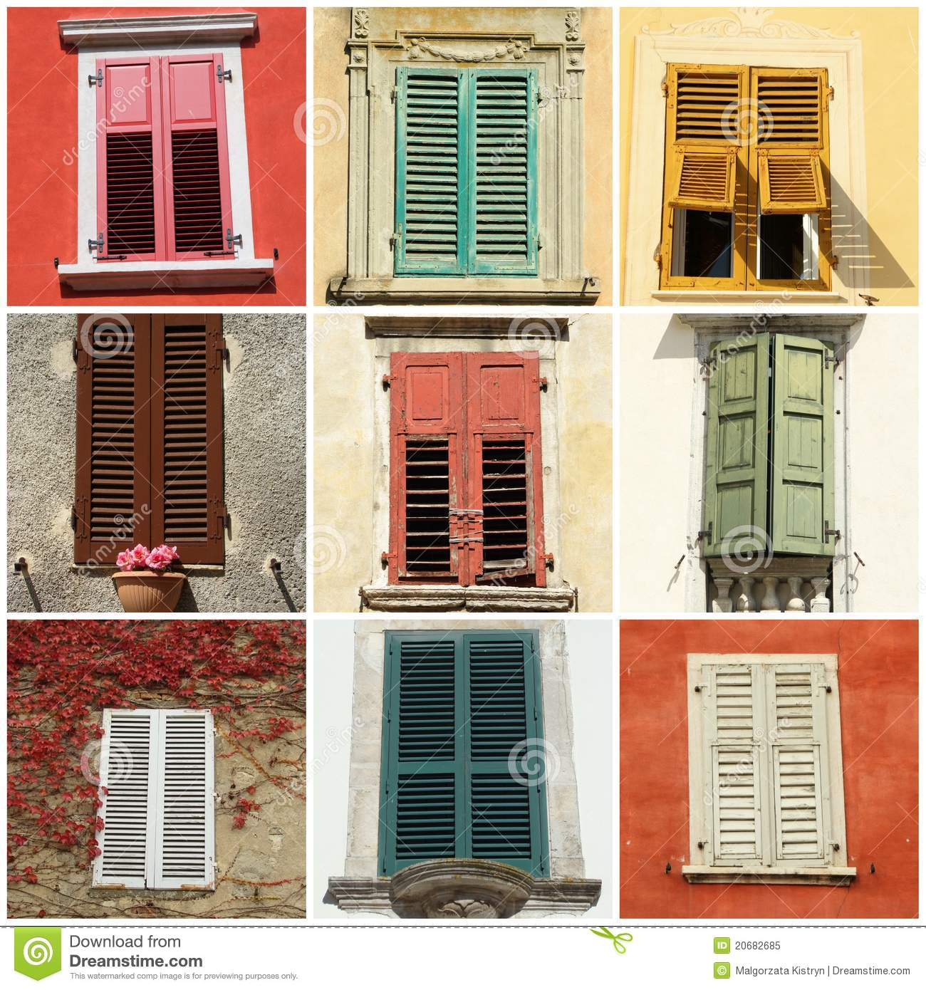 Colorful Retro Shutters From Italy Europe Royalty Free