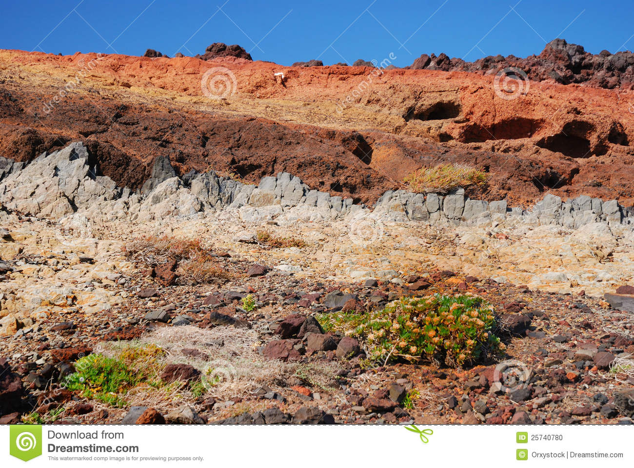 Colorful rock formations, madeira, portugal
