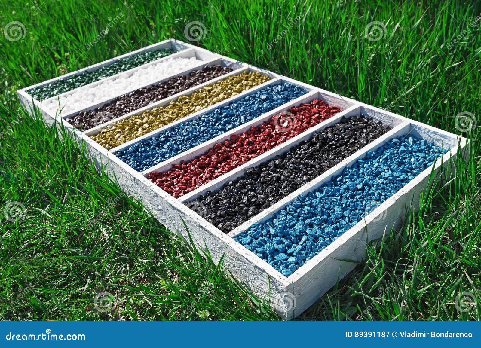 Colorful Rocks In Wooden Box On The Green Grass, Art Aquarium Fish ...