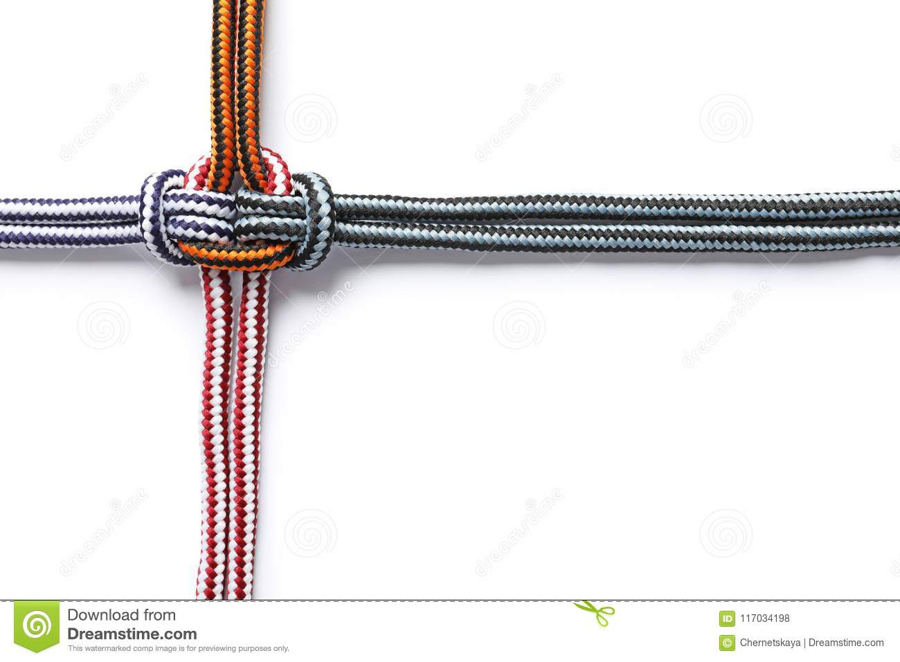 Colorful Ropes Tied Together On White Background Stock Photo - Image