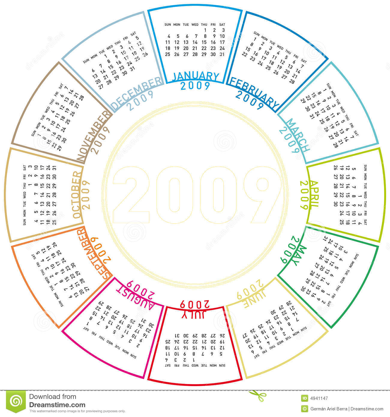 Colorful Rotating Calendar For 2009. Royalty Free Stock ...