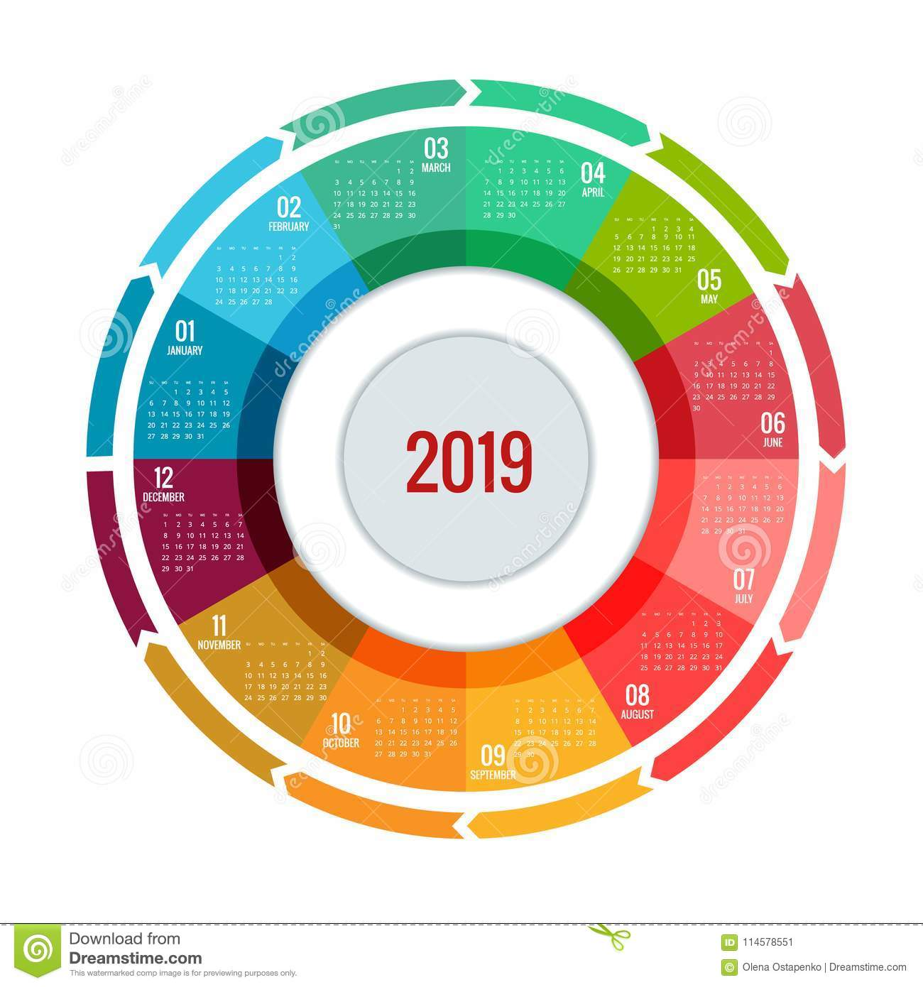 Colorful Round Calendar 2019 Design, Print Template, Your