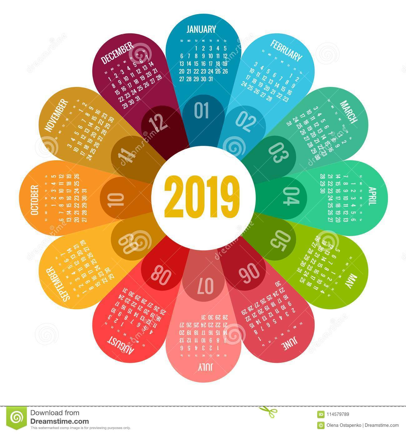 colorful round calendar 2019 design  print template  your