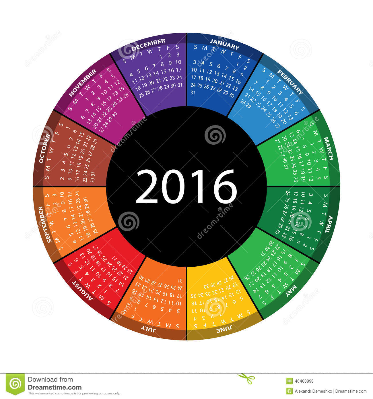 Year Round Calendar Template : Colorful round calendar for year stock vector