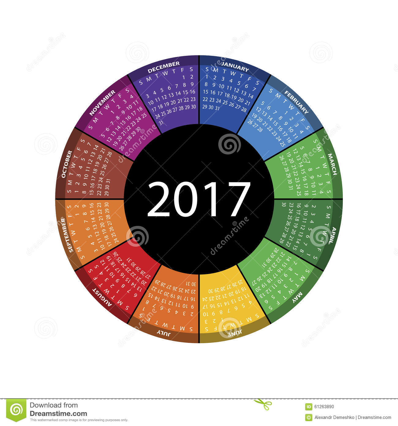 Colorful Round Calendar For 2017 Year. Stock Vector - Image: 61263890