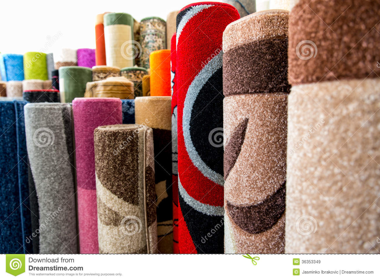 Colorful Rugs For Sale At Store Stock Image Image Of