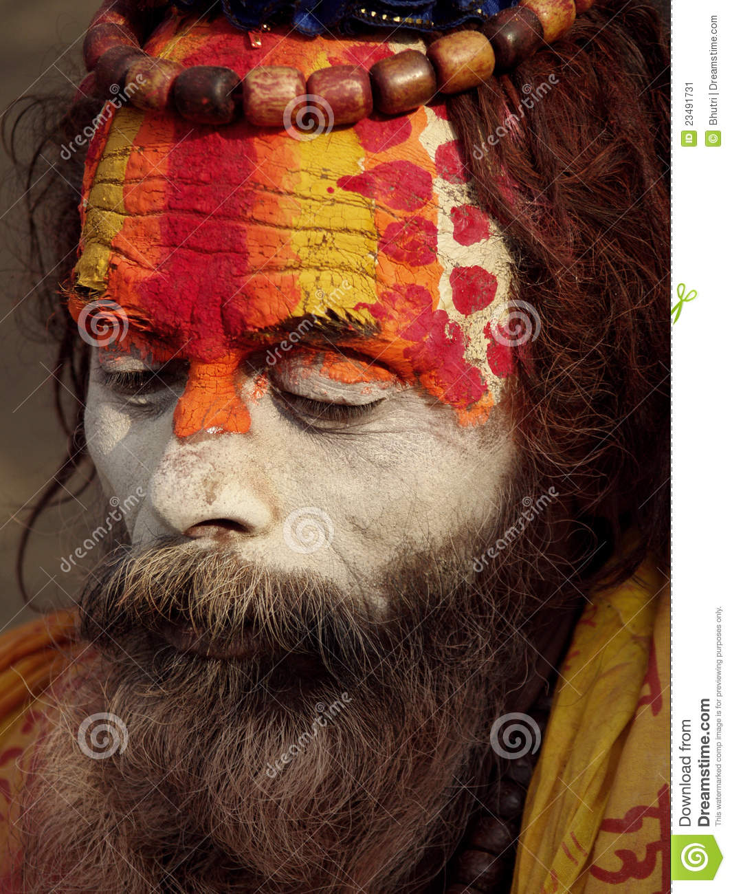 Arresting Sadhus Portrait Photography Religious Photography: Colorful Sadhu In Shivaratri Festival Editorial Photo
