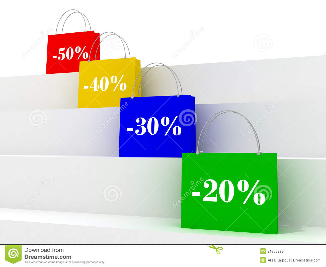 Colorful Sale Bags With Discount Signs Stock Photos - Image: 21263893