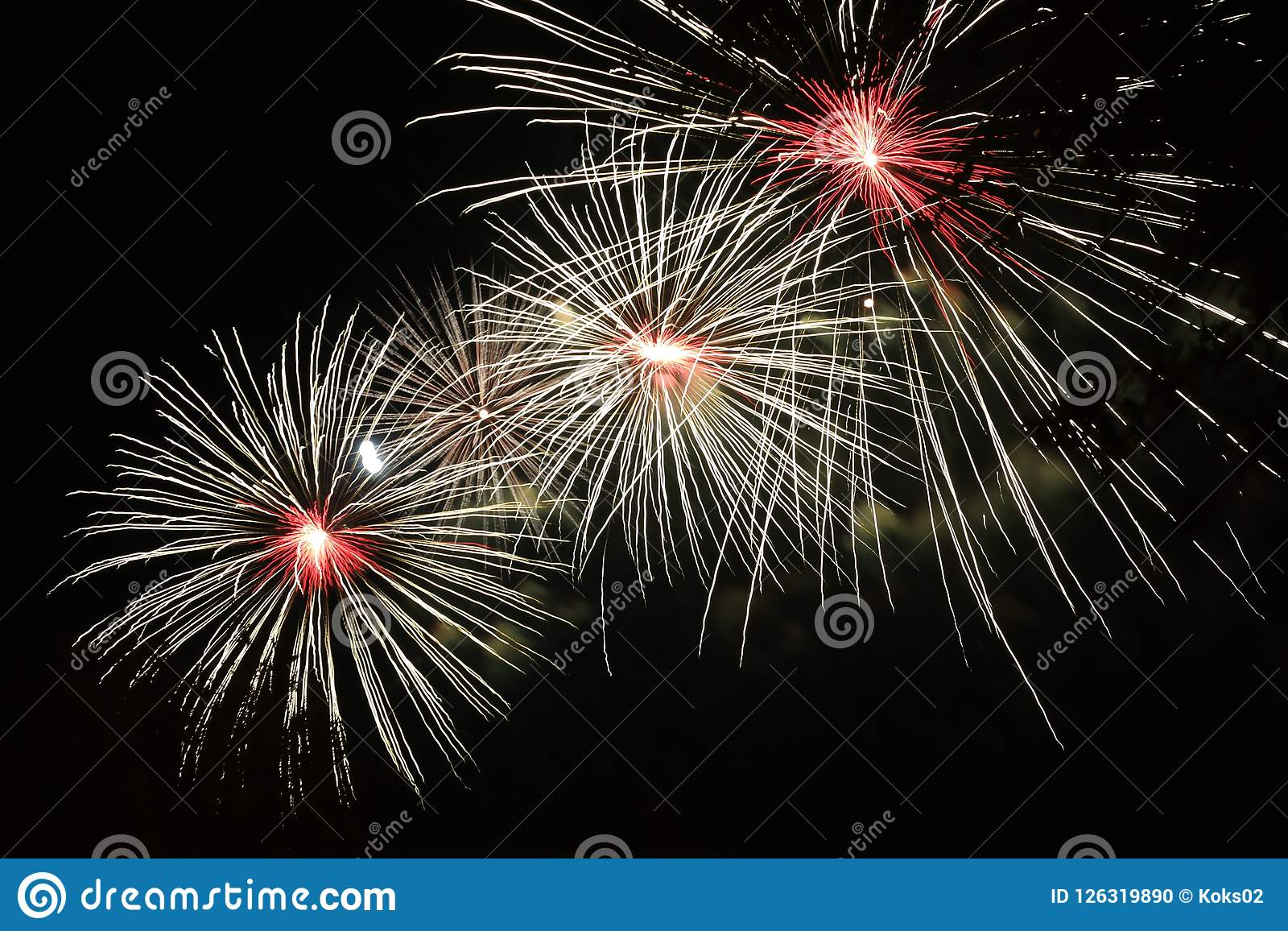 Wallpaper Salute Sky Holiday Colorful 3376x4220: Colorful Salute In The Night Sky Stock Photo