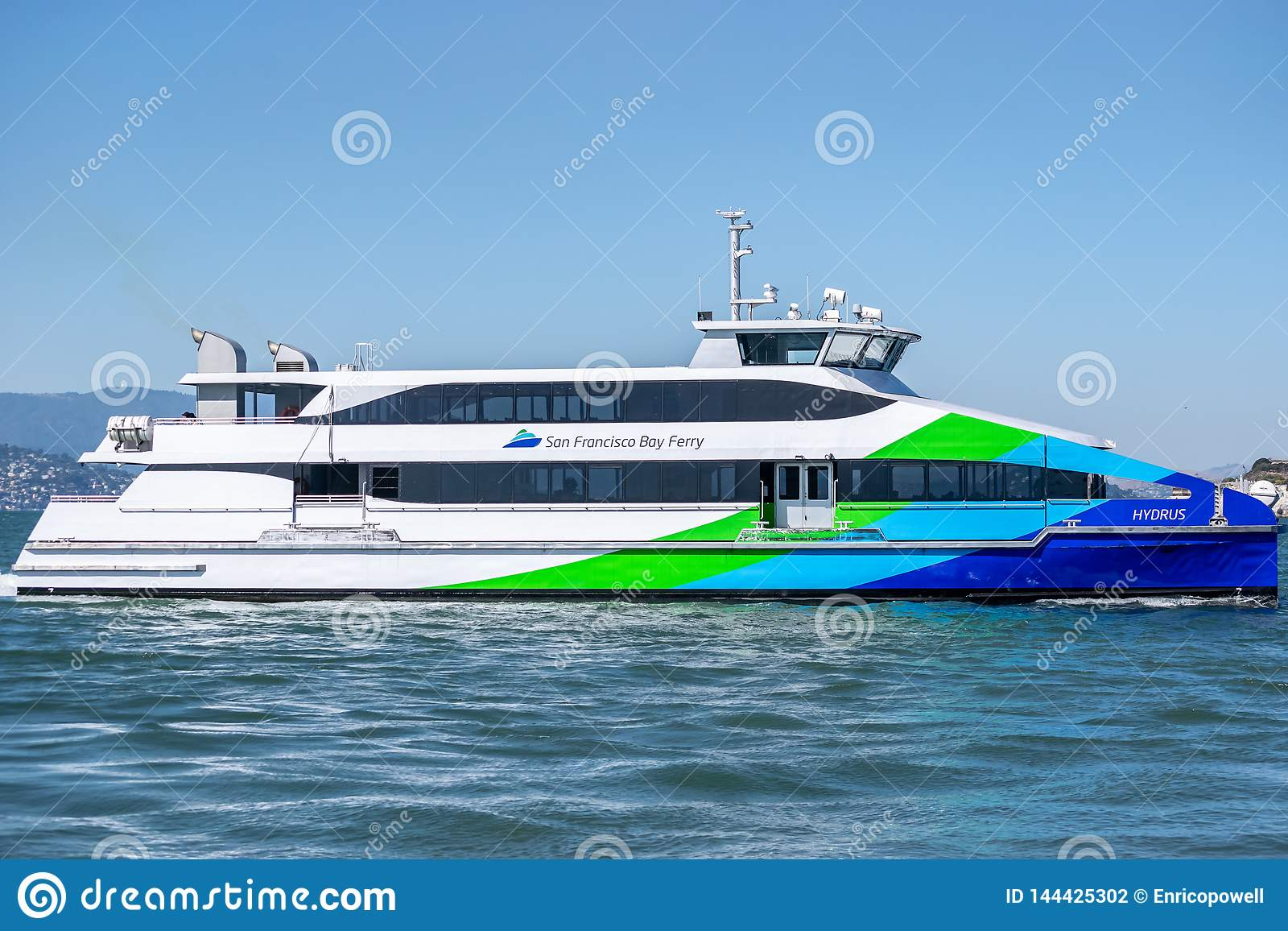 The colorful San Francisco Bay Ferry at Pier 39