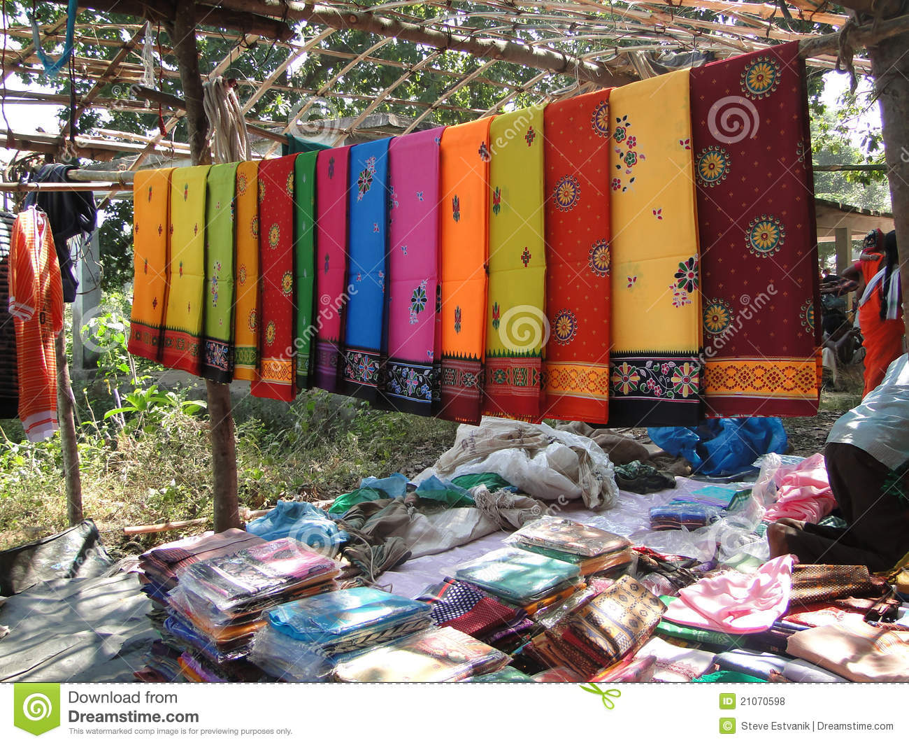 Colorful Saris Are On Sale At The Weekly Market Editorial ...