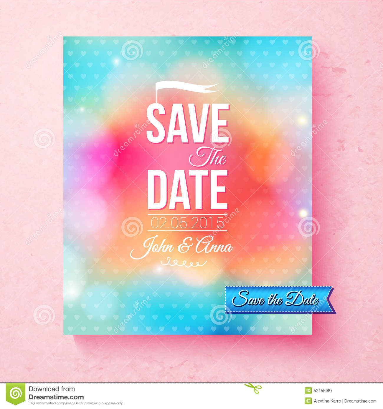 colorful save the date template textured with dots stock vector