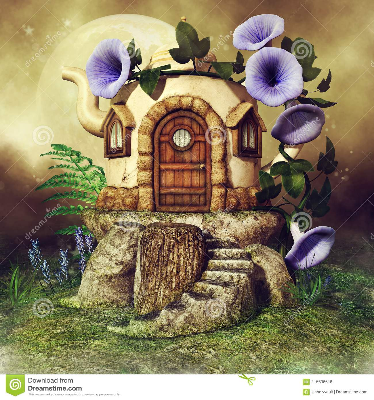 Teapot house with purple flowers