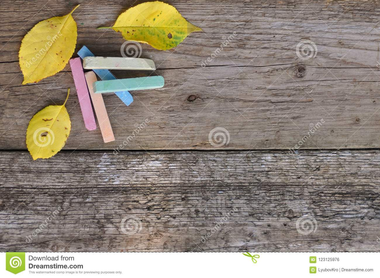 Colorful school crayons and yellow leaves on wooden background. rustic. September 1st.