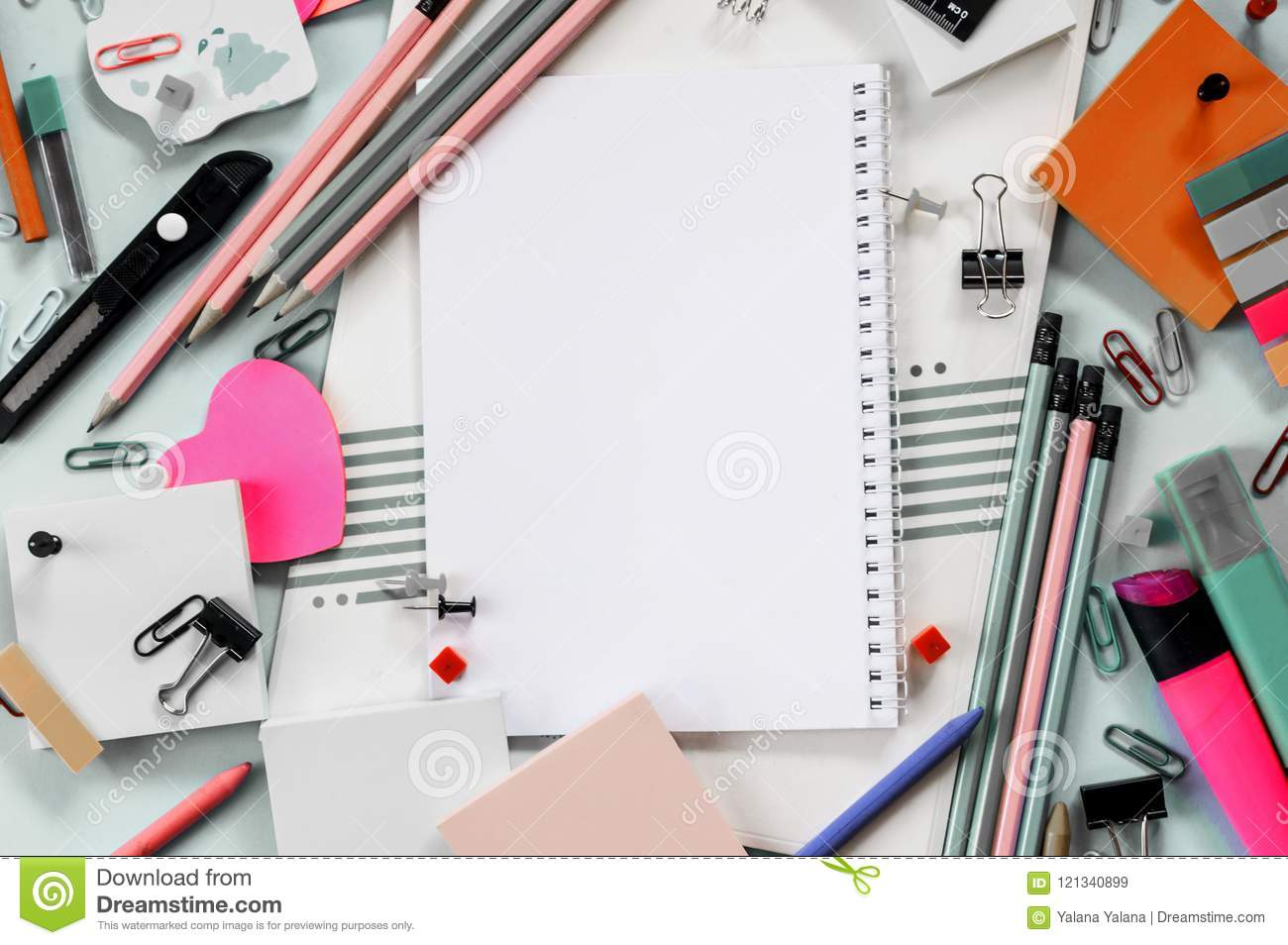 Colorful office accessories Funky Beautiful Office Supplies For School And Office On Blue Background Dreamstimecom Colorful School And Office Accessories Notebook Stock Image Image
