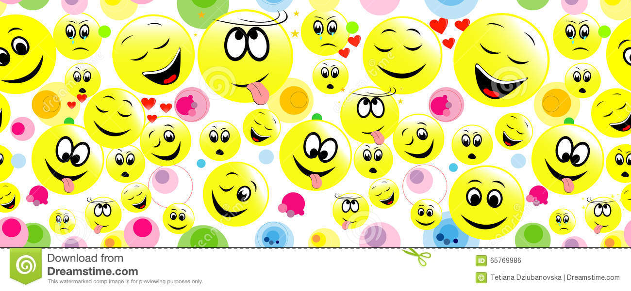 colorful seamless background of funny smiley faces stock