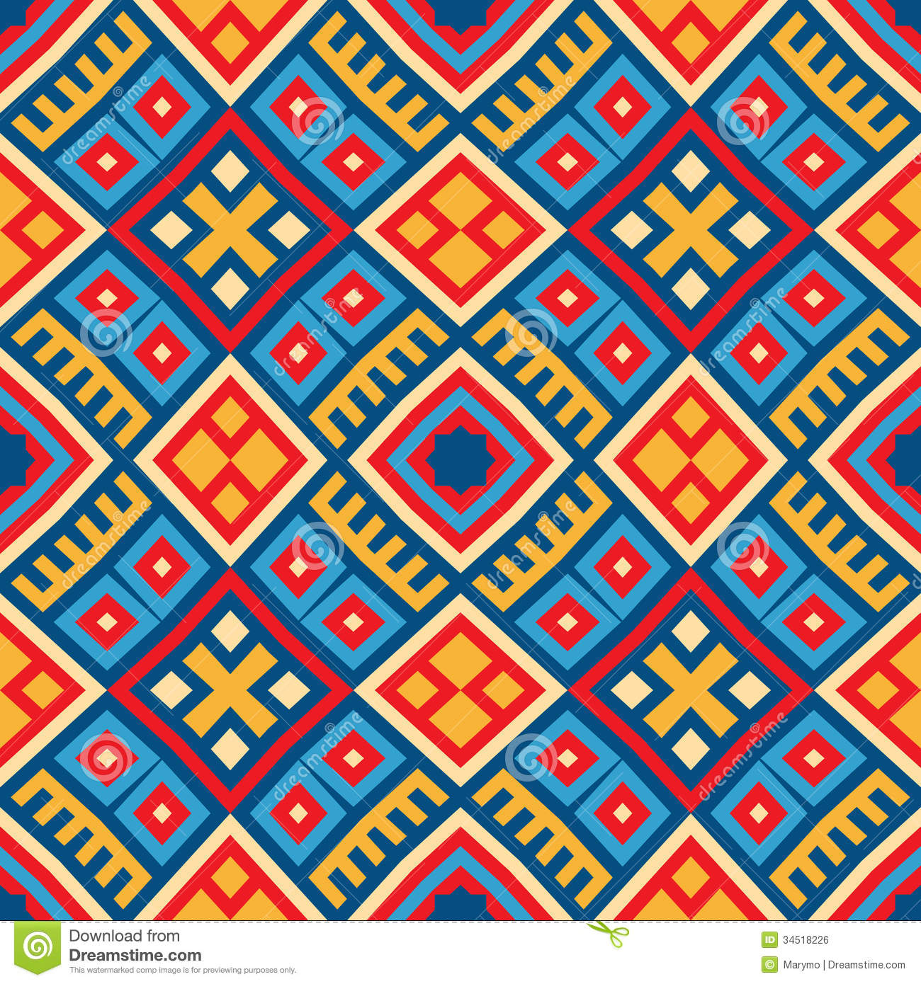 Colorful Seamless Ethnic Pattern Background Royalty Free
