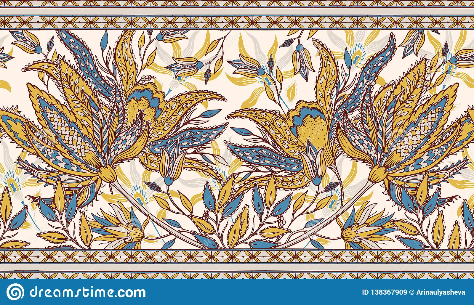 Paisley Ethnic Floral Background Stylized Flowers Plants Design For Home Decor Fabric Carpet Wrapping Vector Illustration