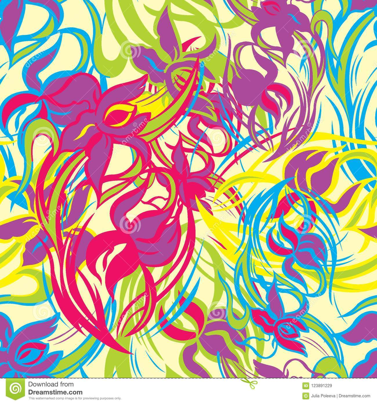 Colorful floral seamless pattern of abstract irises. Vector