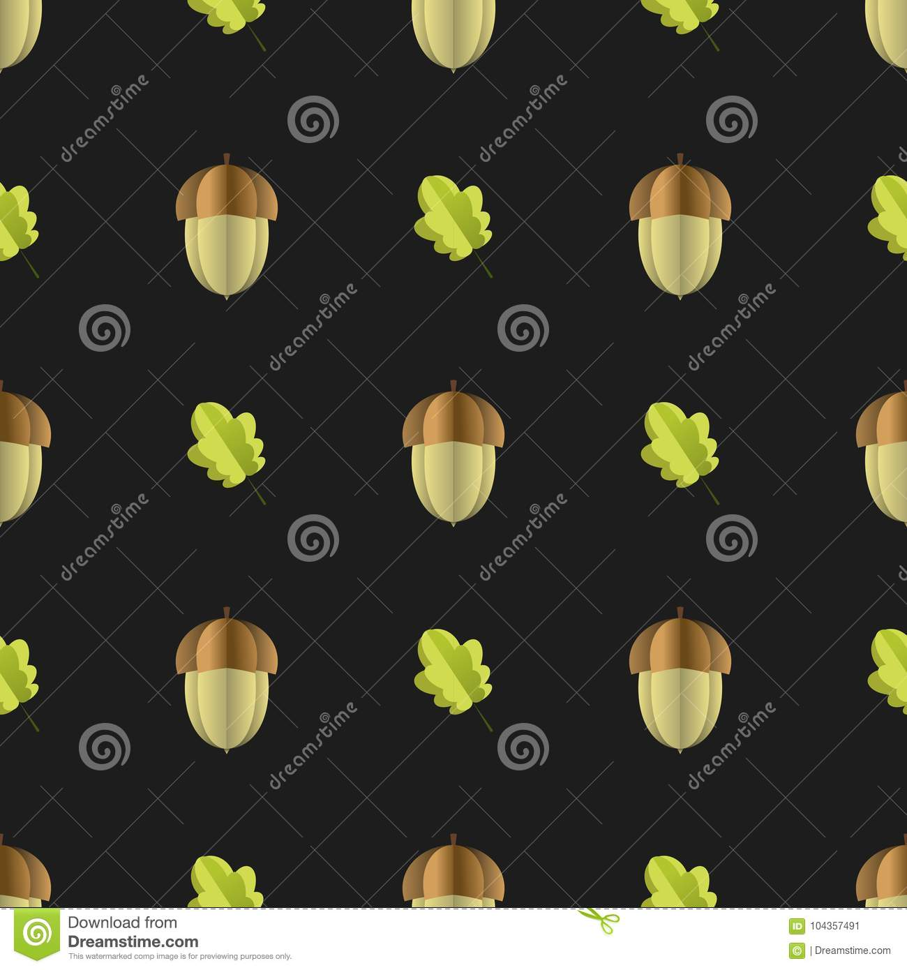 Colorful Seamless Pattern Of Acorn And Leaves Cut Out Of