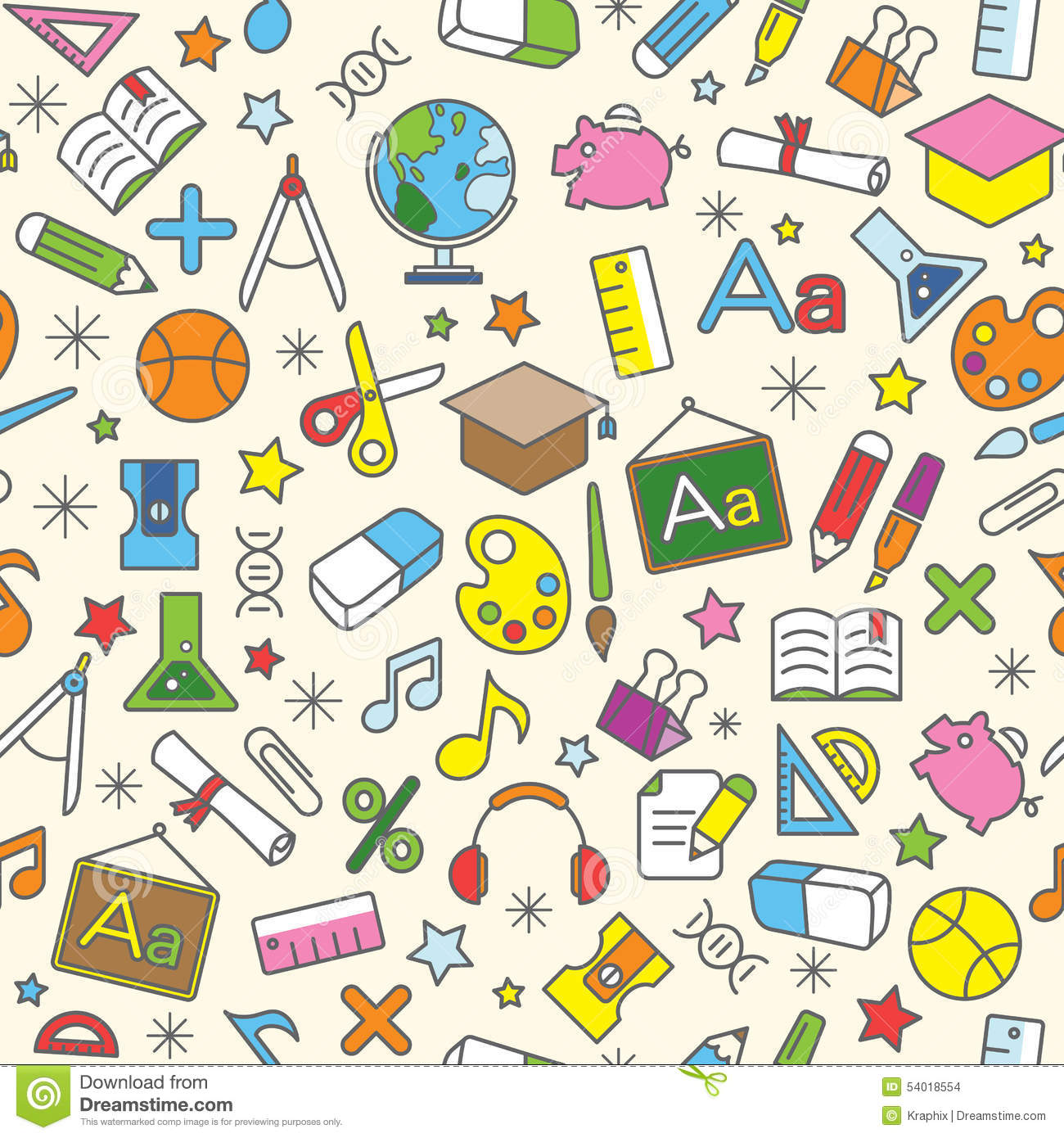 Colorful Seamless Pattern Background Of School And ...