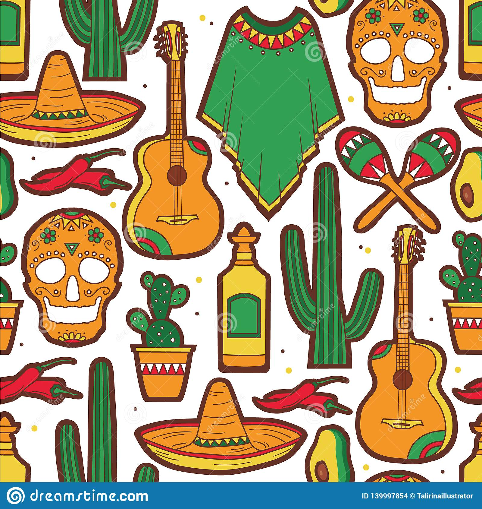 Colorful seamless pattern with collection of mexican symbols