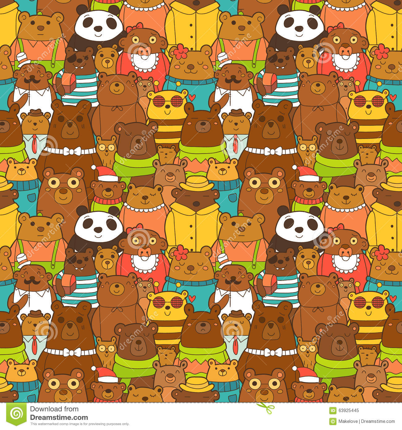 Colorful Seamless Pattern With Funny Brown Bears Stock ... - photo#50