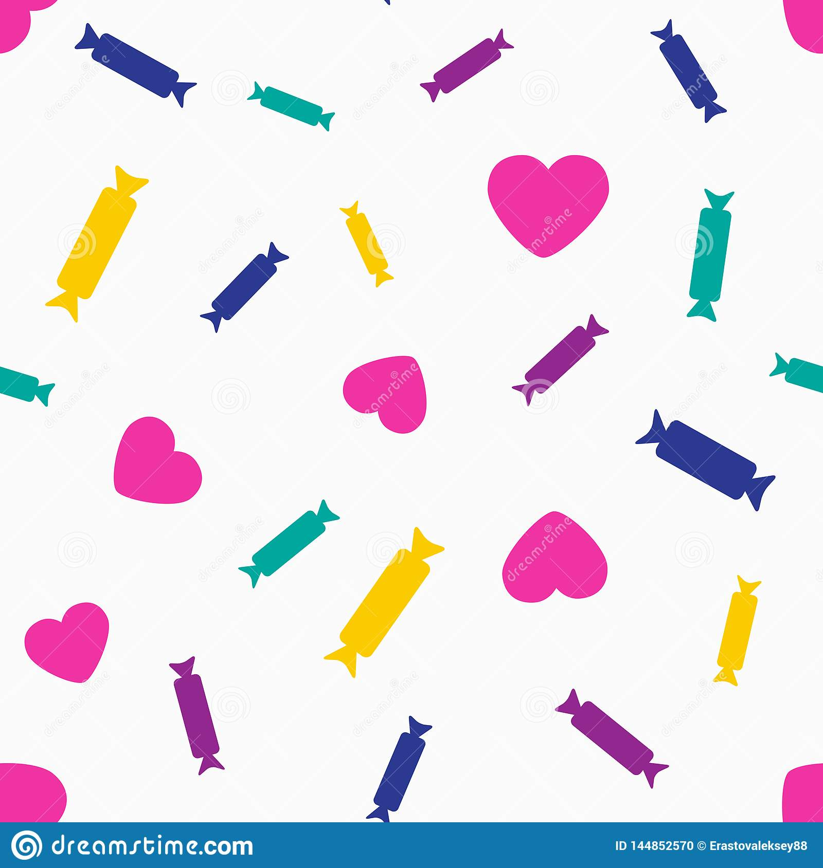 Colorful seamless pattern with hearts and candy. Vector illustration.