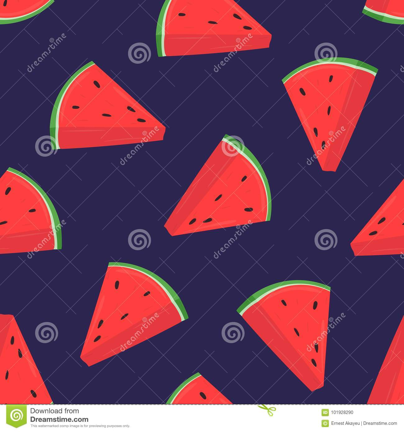 Colorful seamless pattern with pink slices of fresh watermelon on purple background. Backdrop with summer delicious