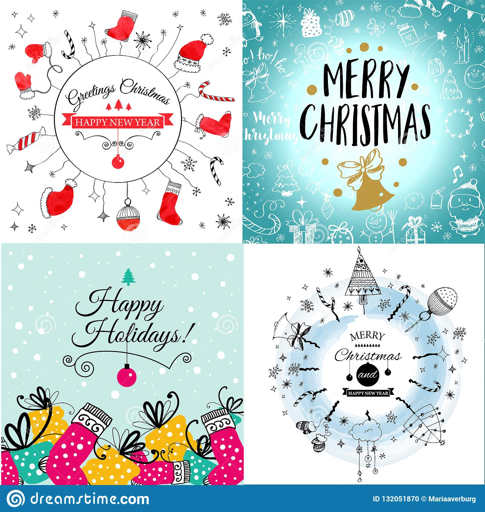 30d39282c2446 Royalty-Free Vector. Colorful seamless pattern with red santa hats on blue  background with doodles
